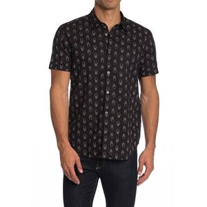 JOHN VARVATOS All Over SKULL Print Trim Camp Shirt